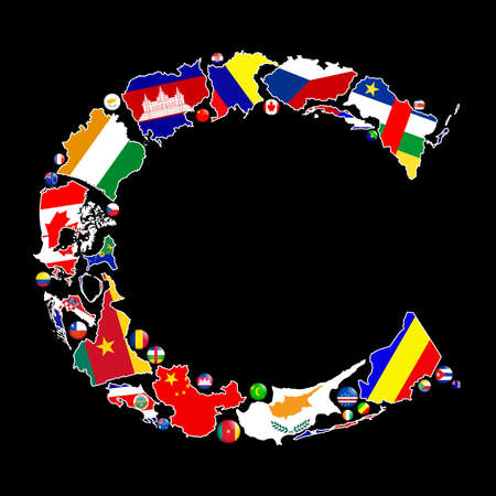 Flag maps and flag badges of all the countries in the world starting with the letter C make up the letter C. photo