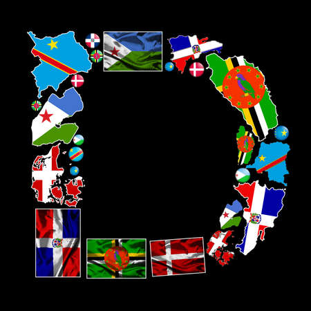Flag maps, flag badges and fabric flags of all the countries in the world starting with the letter D make up the letter D. photo