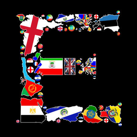 Flag maps and flag badges of all the countries in the world starting with the letter E make up the letter E. photo