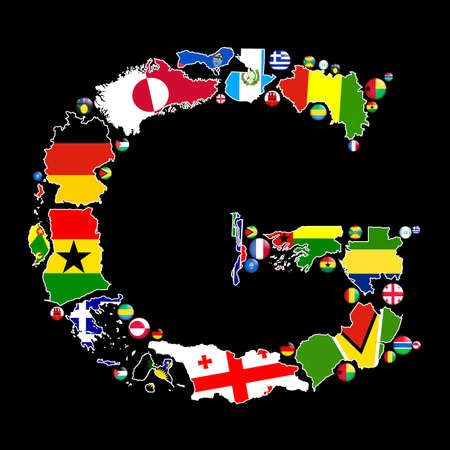 Flag maps and flag badges of all the countries in the world starting with the letter G make up the letter G. photo
