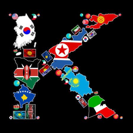 Flag maps, flag badges and fabric flags of all the countries in the world starting with the letter K make up the letter K. photo