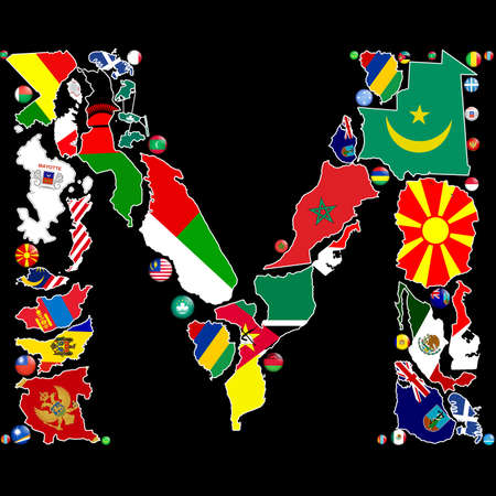 Flag maps and flag badges of all the countries in the world starting with the letter M make up the letter M. photo