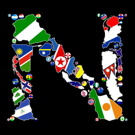 Flag maps and flag badges of all the countries in the world starting with the letter N make up the letter N. photo