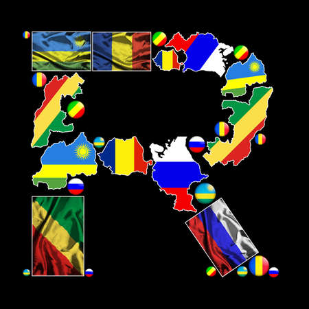nation: Flag maps, flag badges and fabric flags of all the countries in the world starting with the letter R make up the letter R. Stock Photo