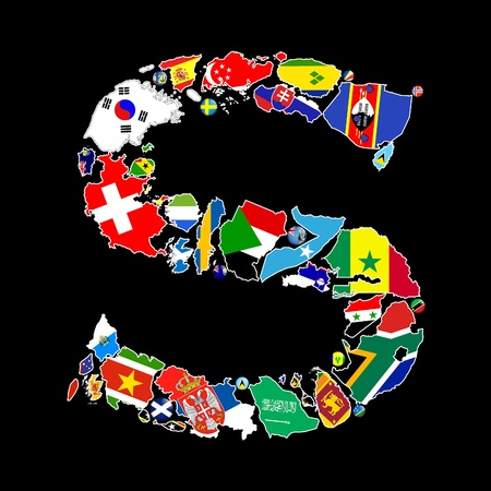 sri lanka flag: Flag maps and flag badges of all the countries in the world starting with the letter S make up the letter S.