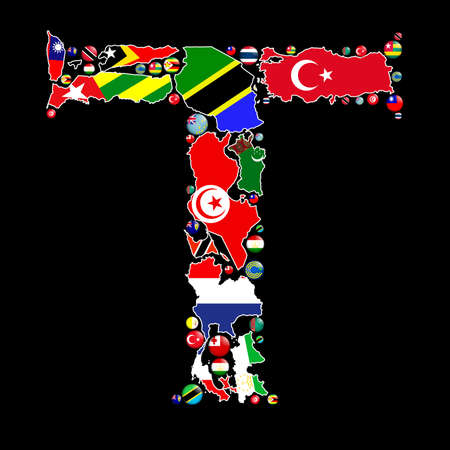 Flag maps and flag badges of all the countries in the world starting with the letter T make up the letter T. photo