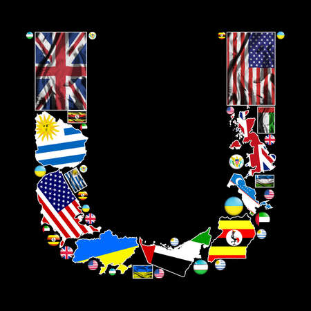 Flag maps and flag badges of all the countries in the world starting with the letter U make up the letter U. photo