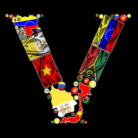 vanuatu: Flag maps, flag badges and fabric flags of all the countries in the world starting with the letter V make up the letter V. Stock Photo