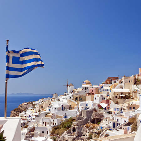 An image of the village of Oia on the greek island of Santorini. photo