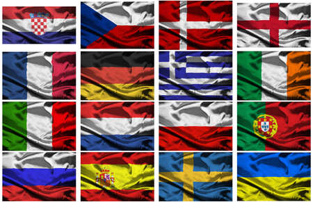 a selection of fabric flags of all the competing countries of the 2012 european championship football tournament. photo