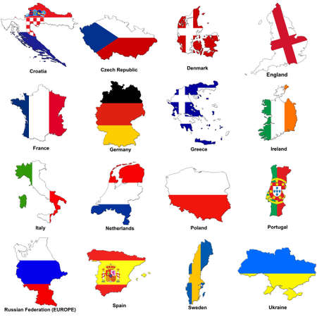 a selection of images showing the map shaped flags of all the competing countries of the 2012 european championship football tournament.