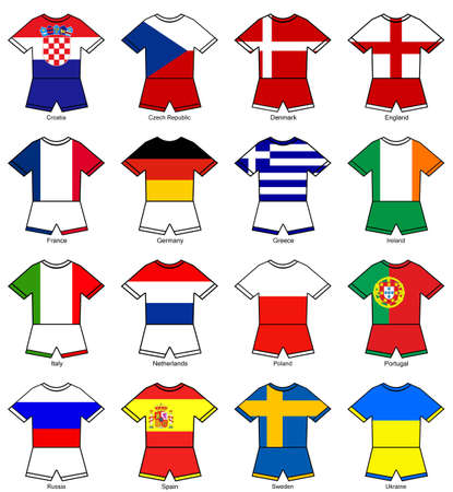 a selection of football strips showing the flags of all the competing countries of the 2012 european championship football tournament. photo