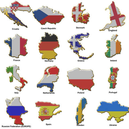 a selection of images showing metal pin badges of map shaped flags of all the competing countries of the 2012 european championship football tournament. photo