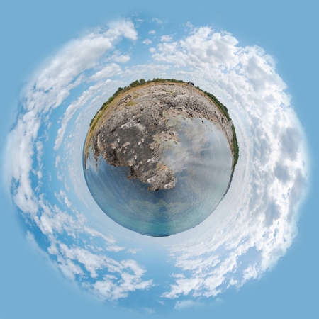 A panoramic image of the swedish coastline at Torekov made into the shape of a planet. photo
