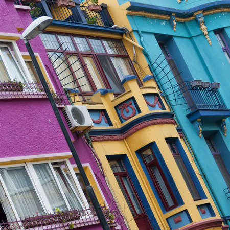 An abstract view of a multicolored apartment block facade in the turkish city of istanbul. photo