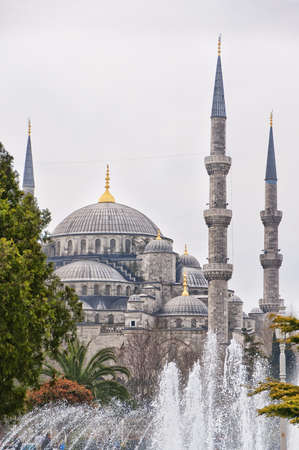 A view of the blue mosque in the turkish city of Istanbul photo