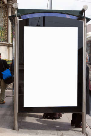 An image of a bus stop with a blank bilboard for your advertising situated in the Turkish city of Istanbul. photo