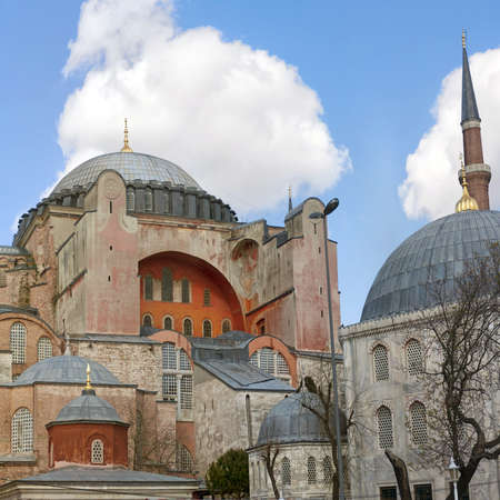 hagia: An image of the impressive hagia sophia mosque situated in the turkish city of istanbul.