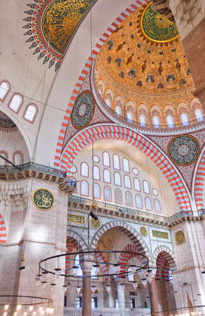 A view of the interior of the Suleiman mosque situated in the Turkish city of Istanbul.