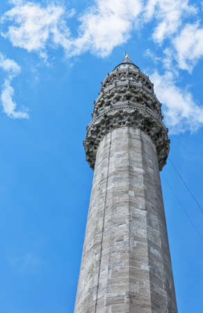 A view of one of the minarets from the majestic Suleiman Mosque in Istanbul, Turkey. photo