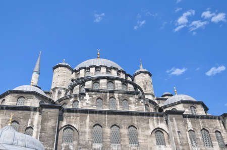 A view of the majestic yeni cammii mosque in Istanbul, Turkey. photo
