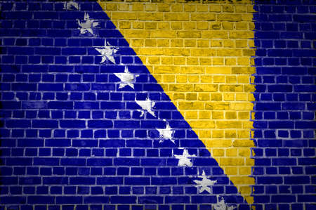 An image of the Bosnia and Herzegovina flag painted on a brick wall in an urban location photo