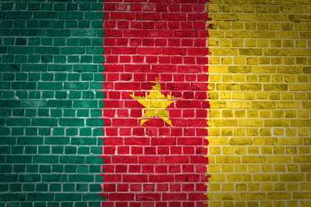 cameroon: An image of the Cameroon flag painted on a brick wall in an urban location