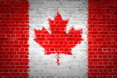 An image of the Canada flag painted on a brick wall in an urban location photo