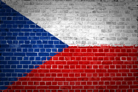 An image of the Czech Republic flag painted on a brick wall in an urban location Stock Photo - 12422949