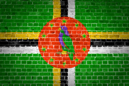 An image of the Dominica flag painted on a brick wall in an urban location photo