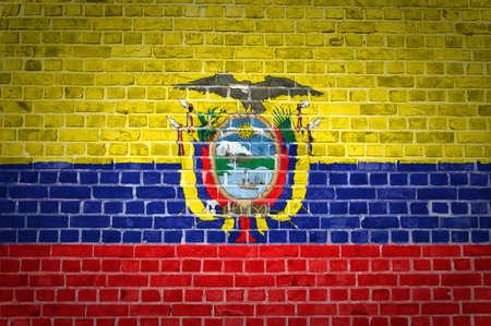 ecuador: An image of the Ecuador flag painted on a brick wall in an urban location Stock Photo