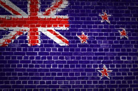 bandera de nueva zelanda: Una imagen de la bandera de Nueva Zelanda pintado en una pared de ladrillo en una ubicaci�n urbana