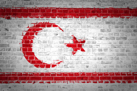 An image of the Northern Cyprus flag painted on a brick wall in an urban location Stock Photo - 12422791