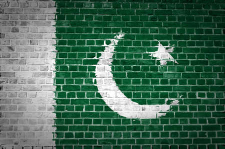 An image of the Pakistan flag painted on a brick wall in an urban location Stock Photo - 12422722