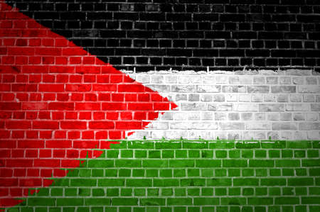 An image of the Palestine flag painted on a brick wall in an urban location photo