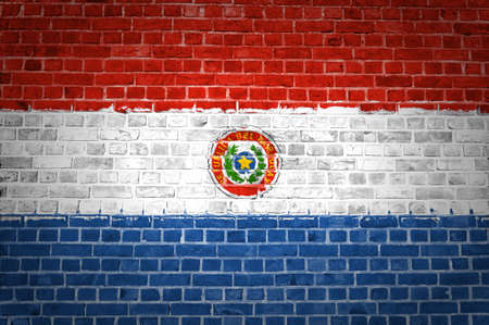 An image of the Paraguay flag painted on a brick wall in an urban location photo