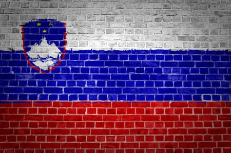 slovenia: An image of the Slovenia flag painted on a brick wall in an urban location