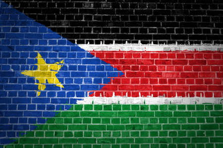 An image of the South Sudan flag painted on a brick wall in an urban location Stock Photo - 12422719
