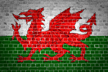 An image of the Wales flag painted on a brick wall in an urban location