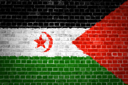An image of the Western Sahara flag painted on a brick wall in an urban location Stock Photo - 12422704