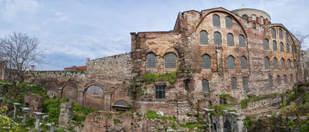 aya: A panoramic image of the old hagia irene mosque and museum thats situated in the turkish city of Istanbul.