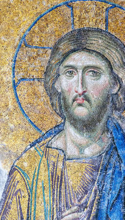jesus face: One of the mosaics that adorn the hagia sofia mosque that are indeed a work of art.