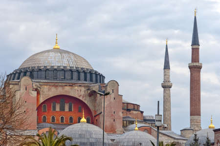 An image of the impressive hagia sophia mosque situated in the turkish city of istanbul. photo