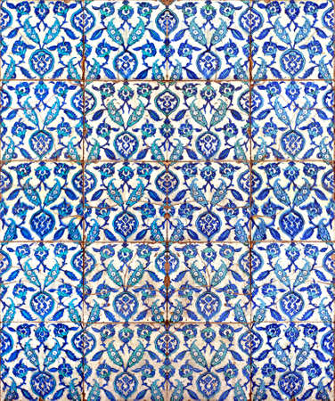 tile flooring: A seamless background image of ancient hand painted ceramic tiles from an islamic mosque.
