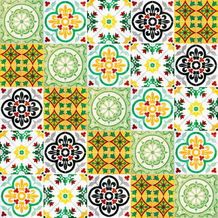 A seamless background image of patterned ceramic tiles for your design purposes. photo