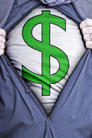open shirt: A businessman rips open his shirt and shows how perfect he is for your money needs by showing off a dollar symbol printed on a t-shirt