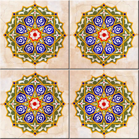 A seamless background image of ancient hand painted ceramic tiles from an islamic mosque. photo