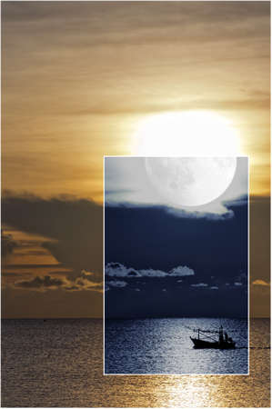 A conceptual image depicting both night and day of a fishing boat sailing on the open sea.