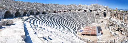 The ancient Roman amphitheatre situated in the turkish town of Side  photo