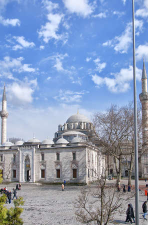 camii: A view of the beyaz camii mosque in the turkish city of Istanbul